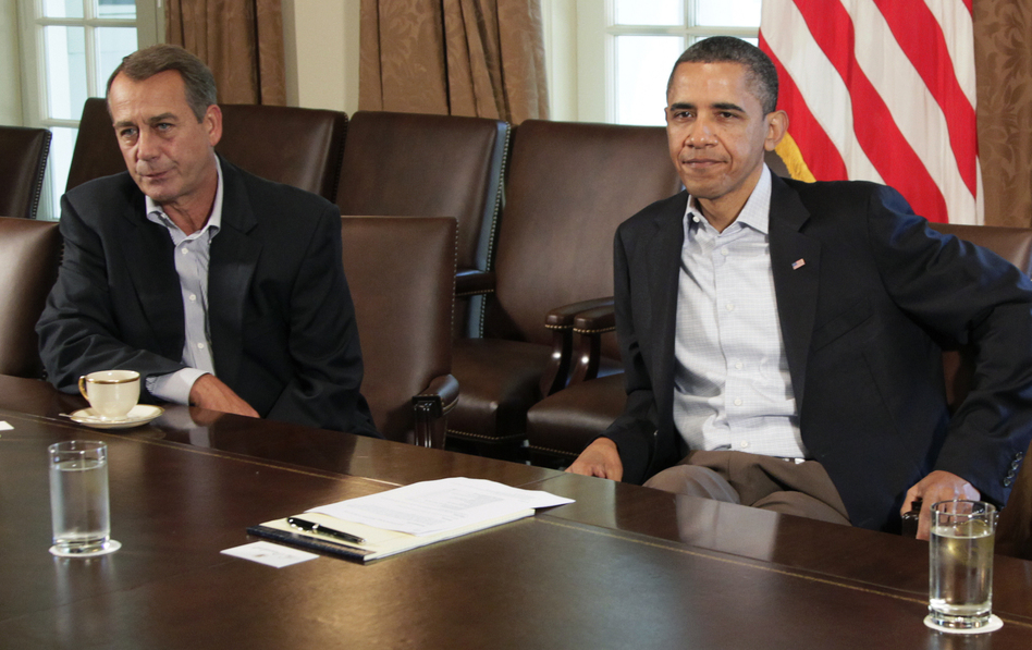 President Obama and House Speaker John Boehner at the White House in July 2011. They are scheduled to meet at the White House again next week to discuss the looming fiscal cliff.
