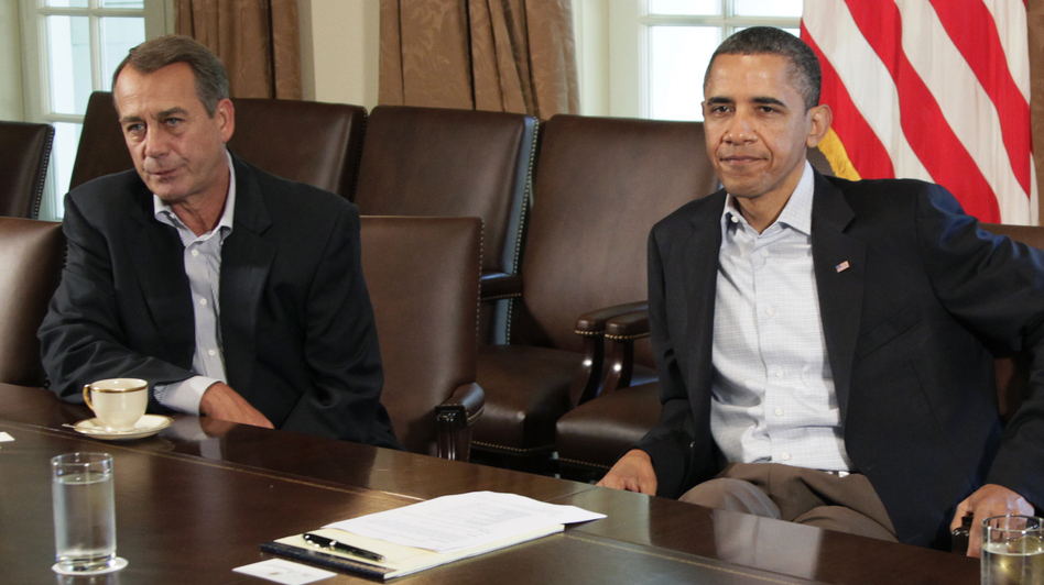 President Obama and House Speaker John Boehner at the White House in July 2011. They are scheduled to meet at the White House again next week to discuss the looming fiscal cliff. (AP)