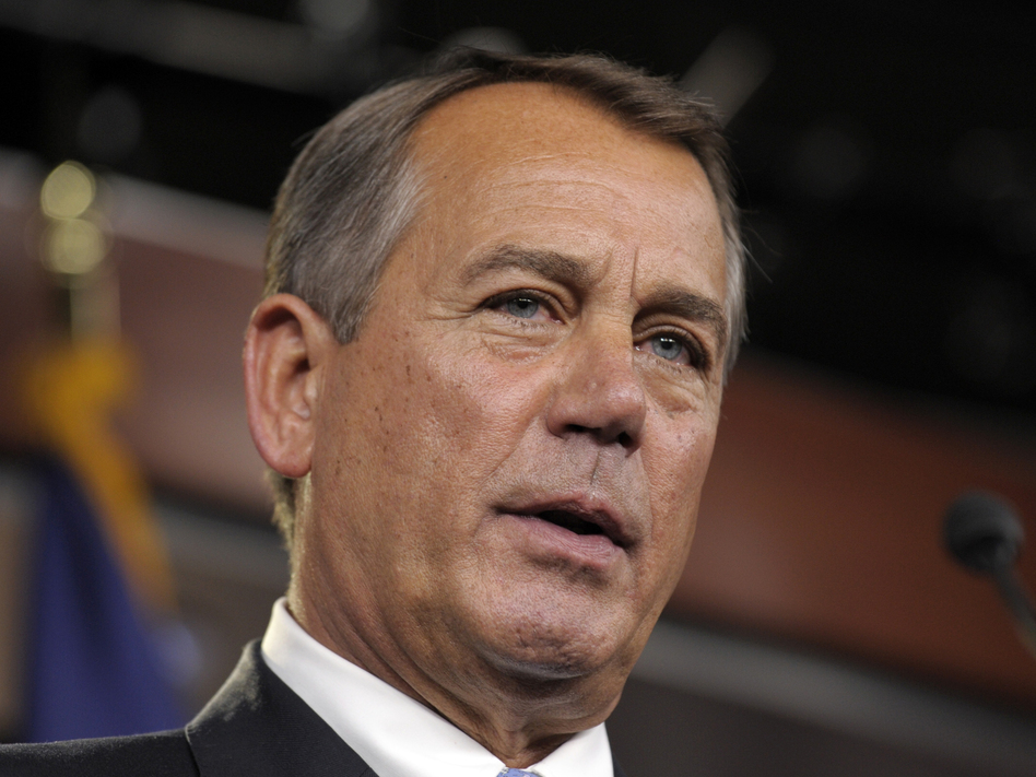 House Speaker John Boehner of Ohio holds a news conference on Capitol Hill on Friday. (AP)