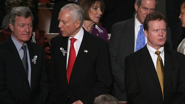 From left, Sens. Max Baucus (D-Mont.), Orrin Hatch (R-Utah) and Sen. Jim Webb (D-Va.) await President Obama's State of the Union address in January 2011, when a bipartisan seating arrangement symbolically suggested a more cooperative spirit among lawmakers. (Getty Images)