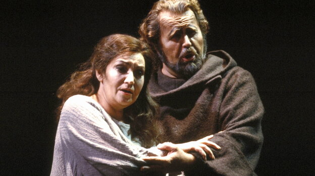 Soprano Maria Slatinaru and bass Paul Plishka perform in a 1986 production of Verdi's La Forza del Destino at the San Francisco Opera.