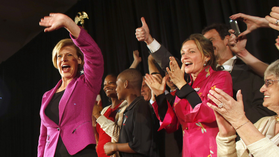 U.S. Rep. Tammy Baldwin, D-Wis., celebrates her victory over Republican Tommy Thompson on election night in Madison, Wis. With that win, Baldwin became Wisconsin's first openly gay Senator. (Getty Images)