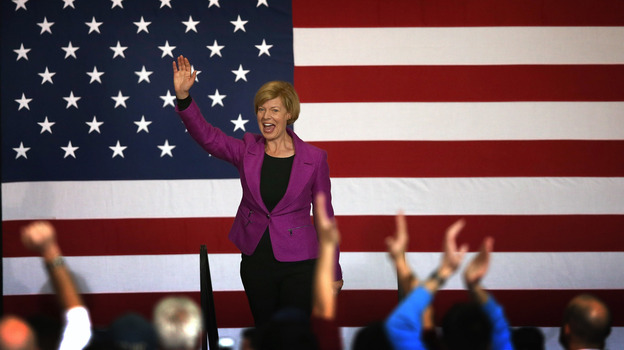 Congresswoman Tammy Baldwin greets supporters at a campaign rally for President Obama on Nov. 3 in Milwaukee. Baldwin became the first openly gay candidate to win a U.S. Senate seat. (Getty Images)