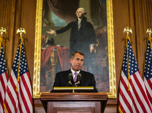 House Speaker John Boehner, seen last week, discusses the looming fiscal cliff.