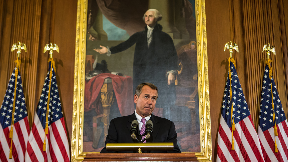 House Speaker John Boehner, seen last week, discusses the looming fiscal cliff. (Getty Images)