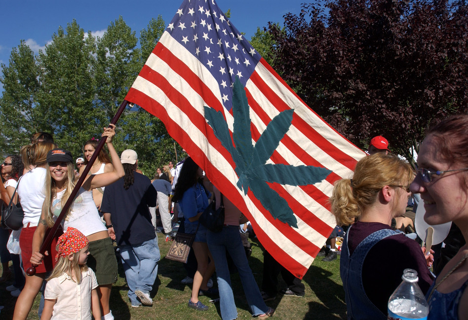 Betsy Burbank shows off her homemade flag at Seattle's Hempfest in August 2003. (Getty Images)