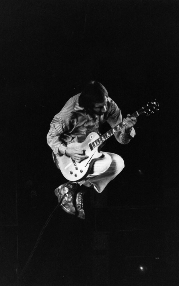 In Flight: Pete Townshend of The Who during a concert in 1975.