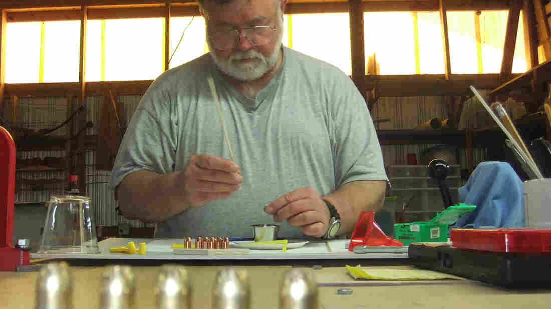 Tony Landenwish loads ammunition with cremated remains for Holy Smoke in Stockton, Ala. The bullets are used as an alternative to scattering a loved one's remains in a special place or putting them in an urn on the mantel.