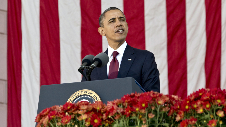 President Obama speaks during a Veterans Day ceremony in Arlington, Va., on Sunday.