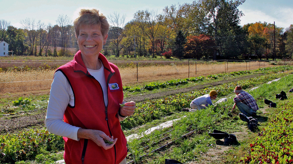 Eleanor Morris Illoway samples greens from farmland that she leased to organic farmers. (WHYY)