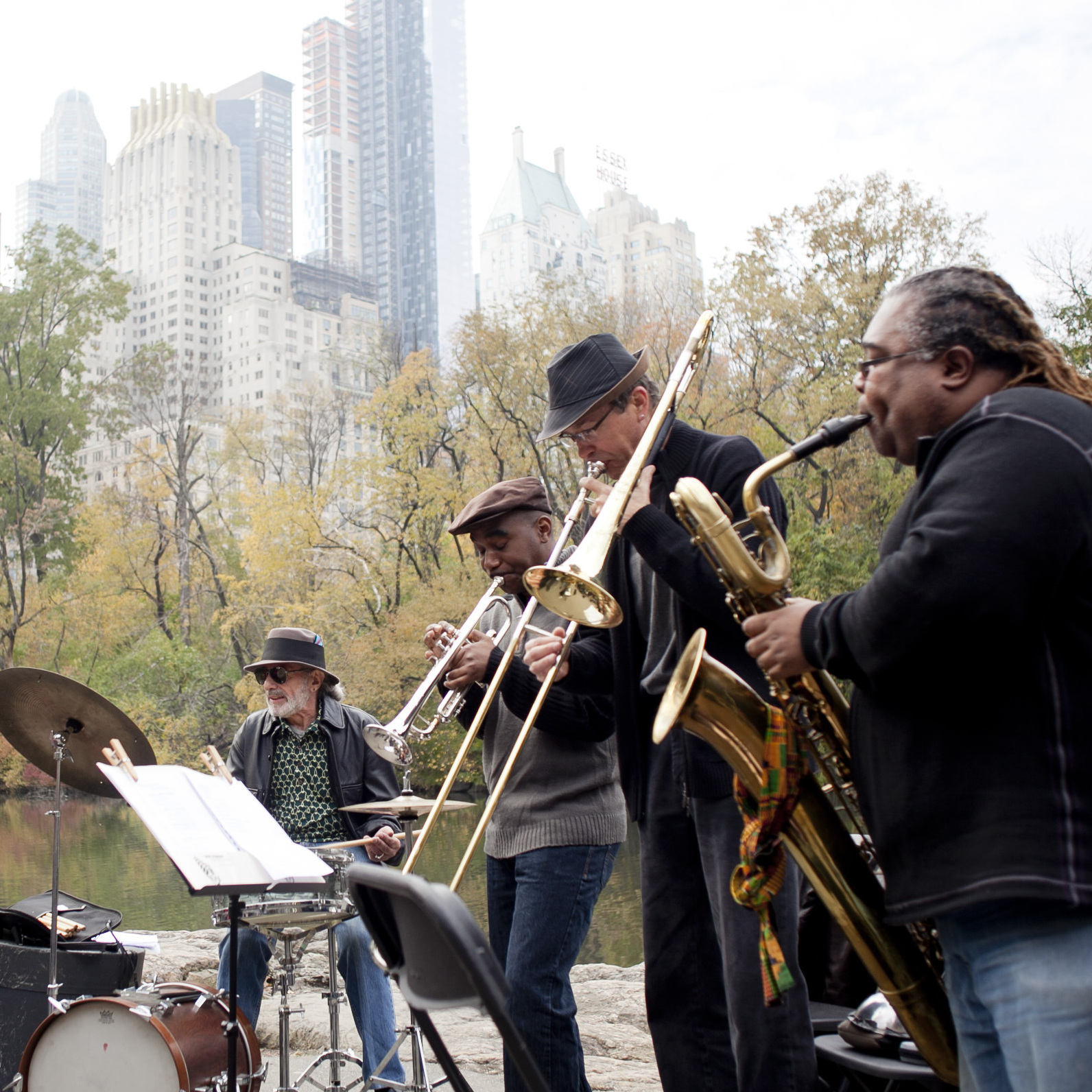 Tuba player Bob Stewart led a quintet at the pond in the southeast corner of Central Park.