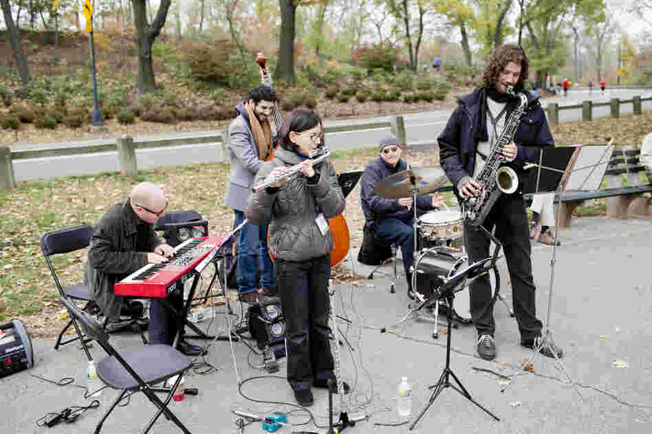 Flutist Jamie Baum bundled up and led a band at the East 96th St. Playground.