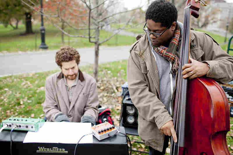 Bassist Vicente Archer played in pianist Kevin Hays' trio, in front of a rock outcropping.