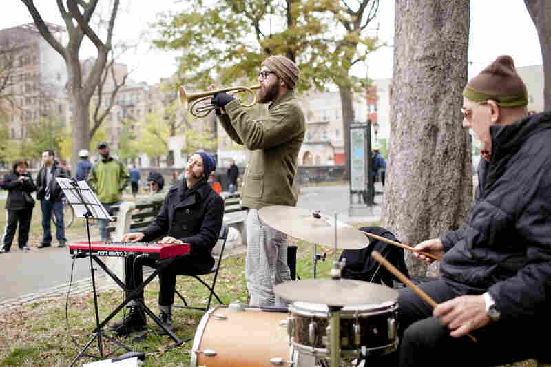 The Kirk Knuffke (trumpet) and Jesse Stacken (keyboard) duo were joined by drummer Bill Goodwin at the northeast corner of the park.