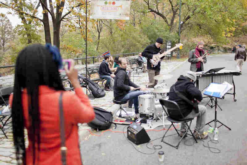 The 110th and Central Park West gate saw a crowd assemble around vibraphonist Chris Dingman's quartet.