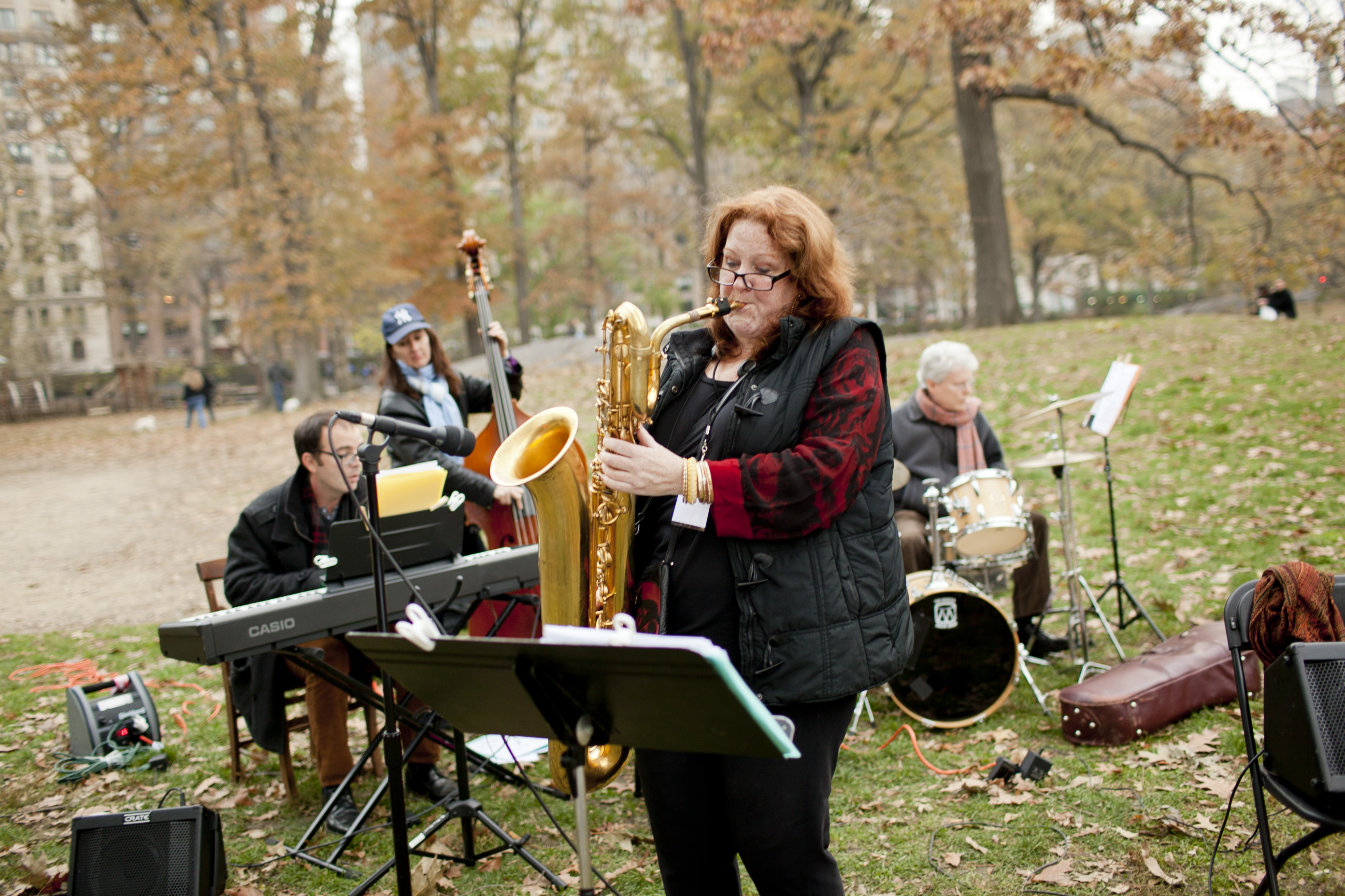 Baritone saxophonist Claire Daly led her quartet at the Wild West Playground, near West 93rd Street.