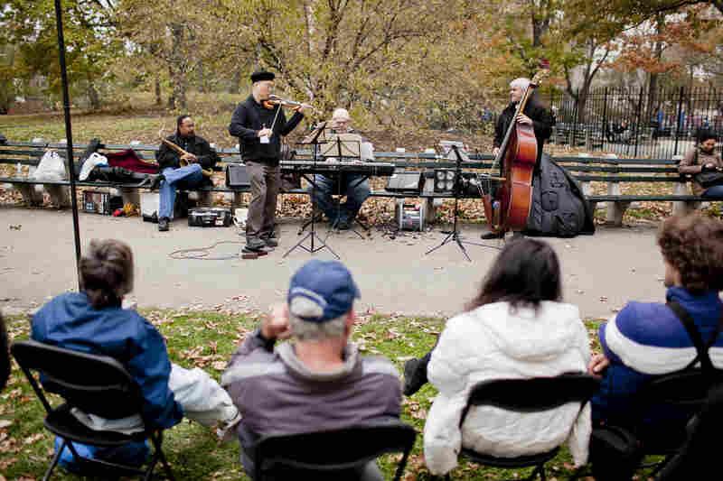Violinist Jason Kao Hwang's quartet played near Seneca Village, on the west side near 85th Street.