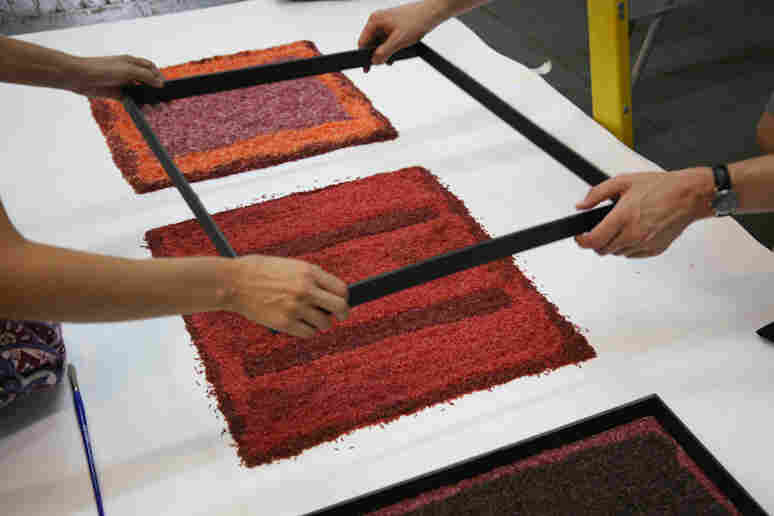 Molds were used to shape the different sized rectangles and to keep separate the colored rice.