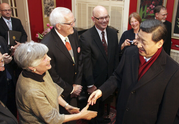 China's vice president, Xi Jinping, who is poised to become the country's new leader, is widely traveled and stayed briefly in Muscatine, Iowa, in the 1980s. He returned again in February of this year and met some of the people he knew from his earlier visit. Xi, right, is shown greeting Muscatine resident Eleanor Dvorchak.