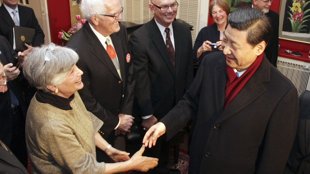 China's vice president, Xi Jinping, who is poised to become the country's new leader, is widely traveled and stayed briefly in Muscatine, Iowa, in the 1980s. He returned again in February of this year and met some of the people he knew from his earlier visit. Xi, right, is shown greeting Muscatine resident Eleanor Dvorchak. (AP)