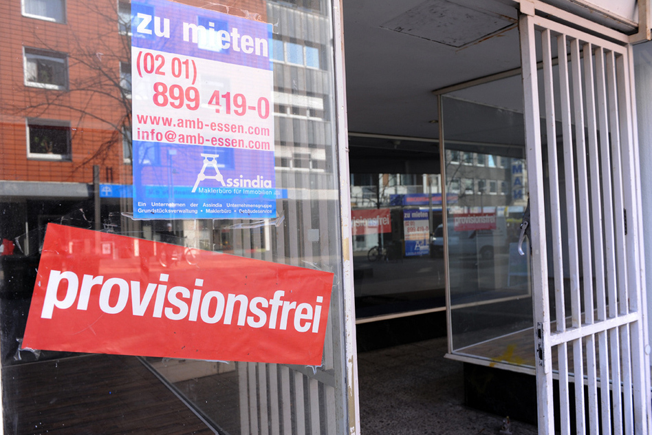 """The main street in Oberhausen — Germany's most indebted city — is dotted with vacancies. Despite its economic woes, Oberhausen, like other western German cities, must make """"reunification"""" payments to the former communist East. The payments help explain German voters' reluctance to bail out Greece and other eurozone countries."""