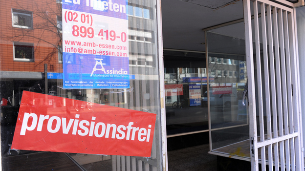 "The main street in Oberhausen — Germany's most indebted city — is dotted with vacancies. Despite its economic woes, Oberhausen, like other western German cities, must make ""reunification"" payments to the former communist East. The payments help explain German voters' reluctance to bail out Greece and other eurozone countries. (AFP/Getty Images)"