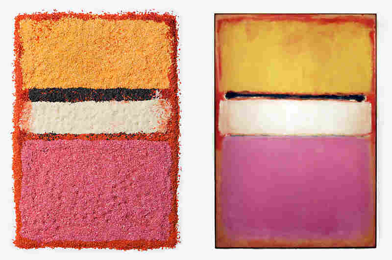 Chef/stylist Caitlin Levin and photographer Henry Hargreaves do an interpretation of Mark Rothko's paintings using colored rice. Left, Levin's design, right, the original painting titled White Center (Yellow, Pink and Lavender on Rose) by Mark Rothko as seen at Sotheby's auction house in New York.