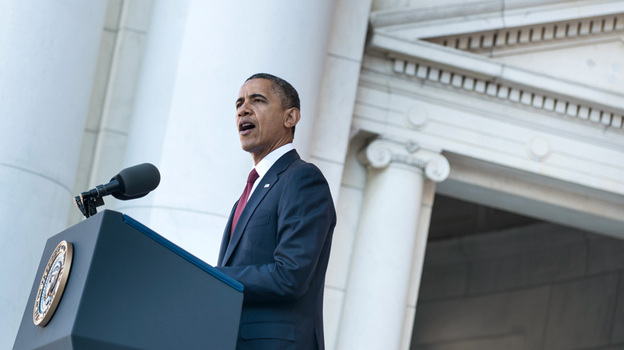 President Obama speaks during Veterans Day ceremonies at Arlington National Cemetery in Virginia on Sunday. (AFP/Getty Images)