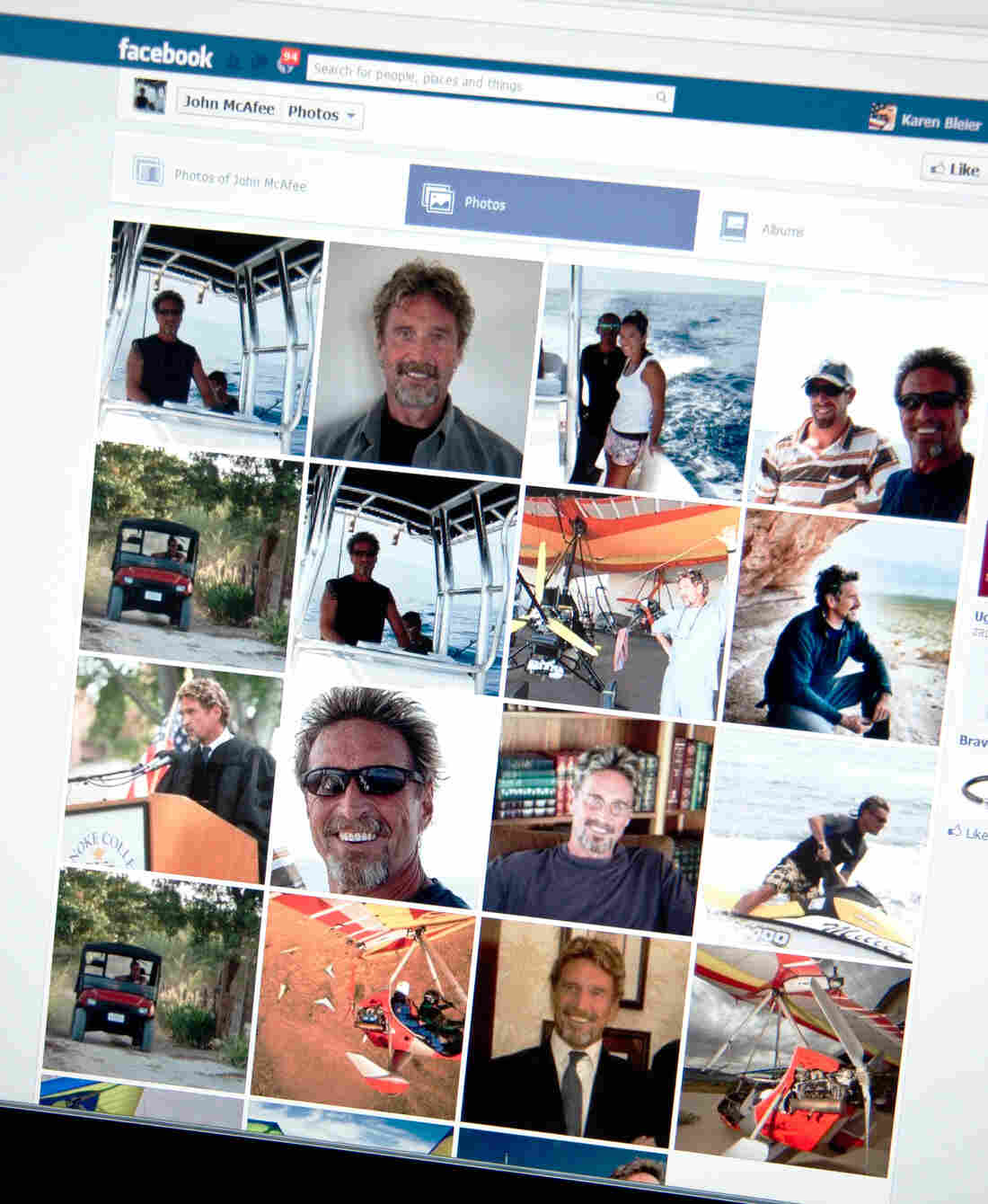 A Facebook page shows photos of John McAfee, the founder of the eponymous anti-virus company.