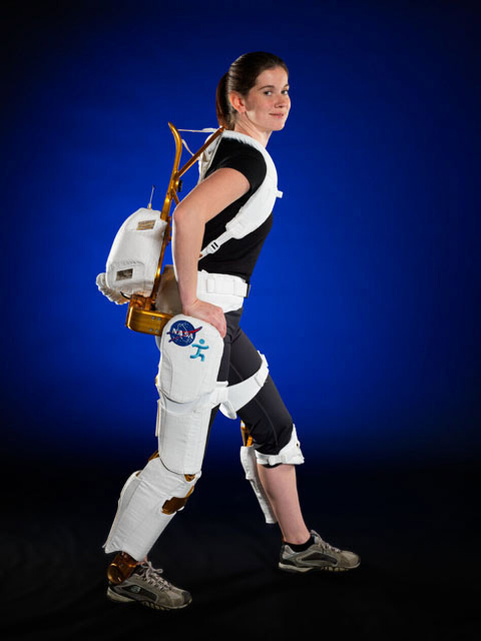 NASA recently announced the development of an exoskeleton for paraplegic rehabilitation use and astronaut strength training. NASA engineer Shelley Rea demonstrates the X1 Robotic Exoskeleton for resistive exercise, rehabilitation and mobility augmentation. (Courtesy of Robert Markowitz/NASA)