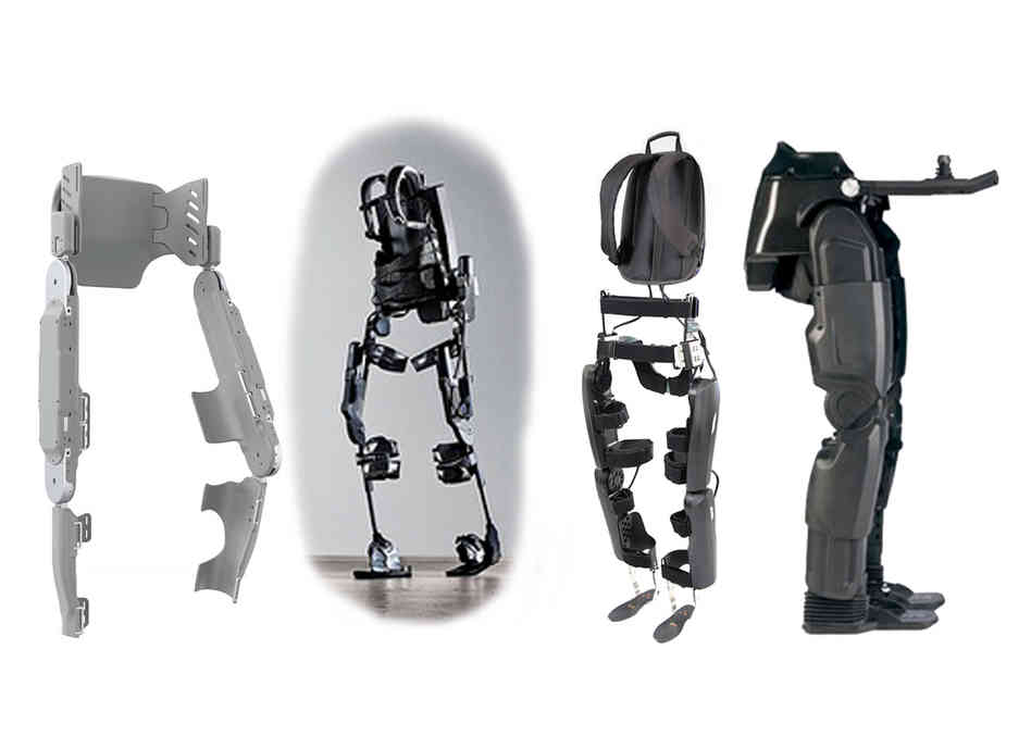 From left to right, the Vanderbilt exoskeleton, the Ekso Bionics exoskeleton, ReWalk by Argo Medical Technologies and Rex by Rex Bionics.