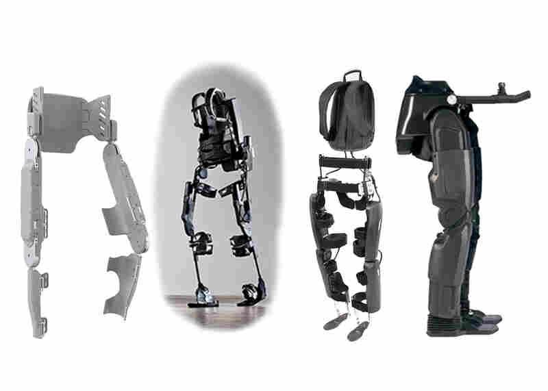 From left to right, the Vanderbilt exoskeleton, the Ekso Bionics exoskeleton, ReWalk by Argo Medical Technologies and Rex by Rex Bionics.
