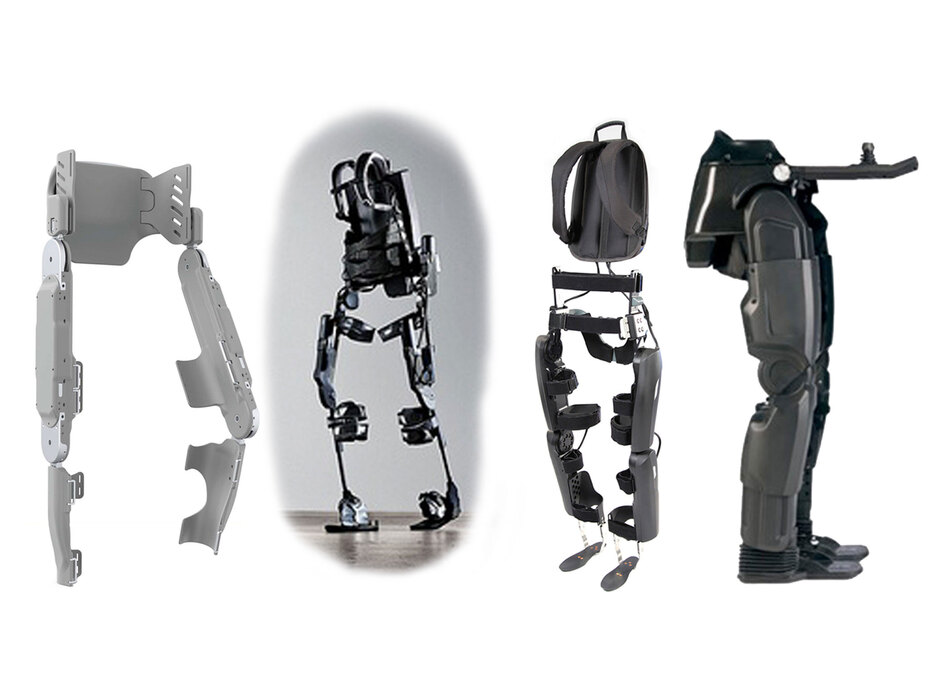 From left to right, the Vanderbilt exoskeleton, the Ekso Bionics exoskeleton, ReWalk by Argo Medical Technologies and Rex by Rex Bionics. (Courtesy of Parker Hannifin Corp/Ekso Bionics/Argo Medical Technologies/Rex Bionics)