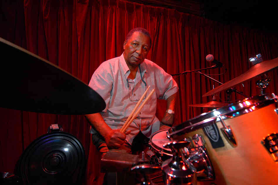 Bob French sits at his drum set prior to performing at the New Orleans club d.b.a. in 2007.