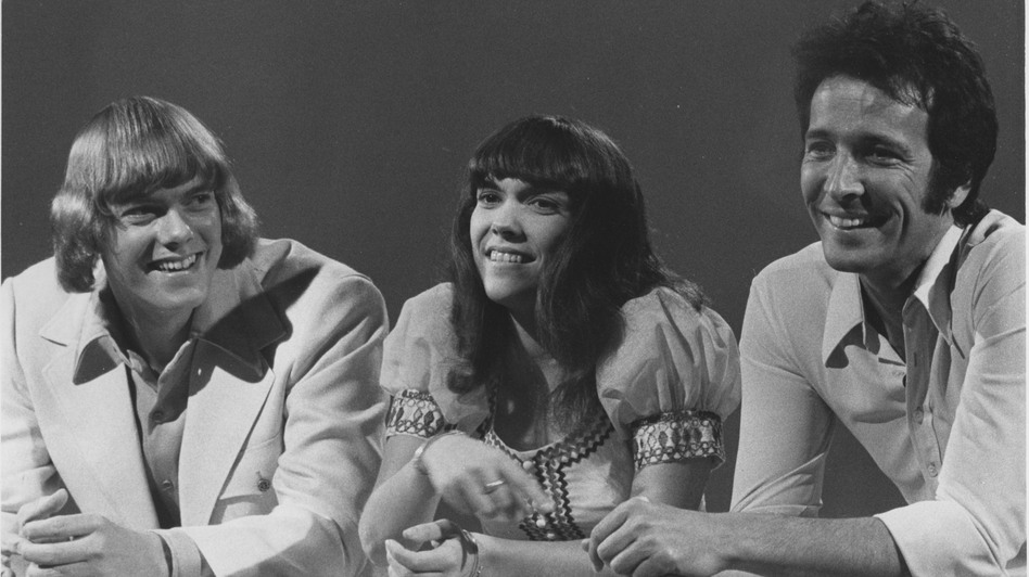 Herb Alpert with Karen and Richard Carpenter, whom the label signed in 1969. (Courtesy of A&M Records)