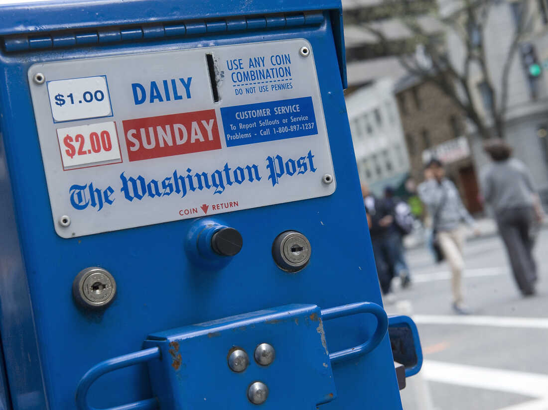 A Washington Post newspaper box.