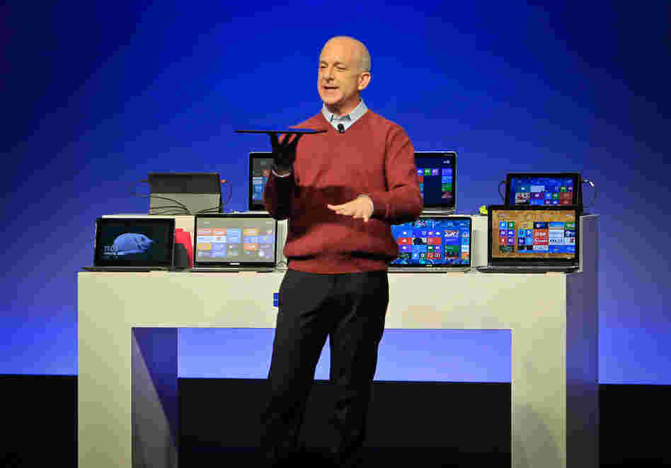 Steven Sinofsky introduces a new Microsoft tablet computer and Windows 8 software to the media in Shanghai on Oct. 23. The former president of Microsoft's Windows division has since left the company.