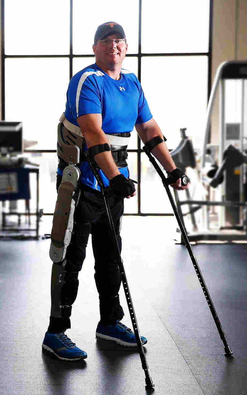 Brian Shaffer tests an exoskeleton developed by researchers at Vanderbilt University at a rehabilitation center in Franklin, Tenn. The exoskeleton locks aroun