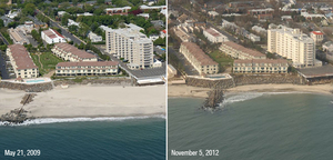 Storm waves and currents removed sand from a beach in Long Branch, N.J., exposing rock and concrete walls.