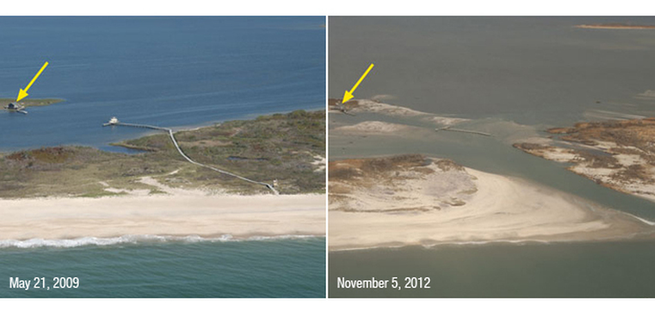 A portion of Fire Island, N.Y., was breached during Sandy, creating a new inlet. Despite the breach, a fishing shack on nearby Pelican Island (yellow arrow) remained standing. (USGS)