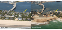 Storm waves and surge cut across the barrier island at Mantoloking, N.J., eroding a wide beach, destroying houses and roads, and depositing sand onto the island and into the back bay.