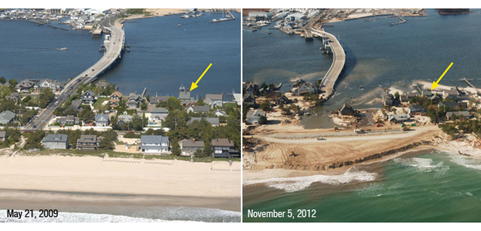 Storm waves and surge cut across the barrier island at Mantoloking, N.J., eroding a wide beach, destroying houses and roads, and depositing sand onto the island and into the back bay. (USGS)