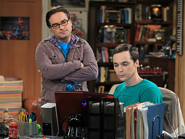 Johnny Galecki and Jim Parsons in <em>The Big Bang Theory</em>, one of Chuck Lorre's three popular comedies currently on CBS.