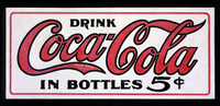 An oilcloth sign advertising Coca-Cola from 1905.