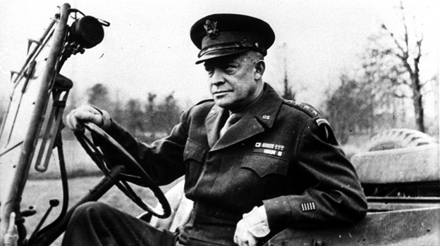 Dwight Eisenhower allegedly had an affair with his female driver while he was the supreme Allied commander during World War II. He's shown here at the wheel of his jeep in France in 1944. (AP)