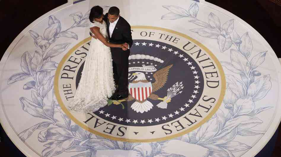 President Obama dances with first lady Michelle Obama on the night of his inauguration, Jan. 20, 2009, in Washington.