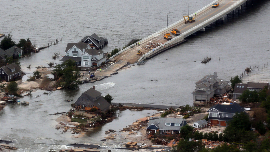 Sandy punched a hole in the barrier island that holds the affluent borough of Mantoloking, N.J., temporarily splitting the community in two. The storm also destroyed several multimillion-dollar homes and erased the island's protective system of dunes.