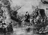 This drawing depicts George Washington arriving in New York by barge on his first Inauguration Day on April 30, 1789.