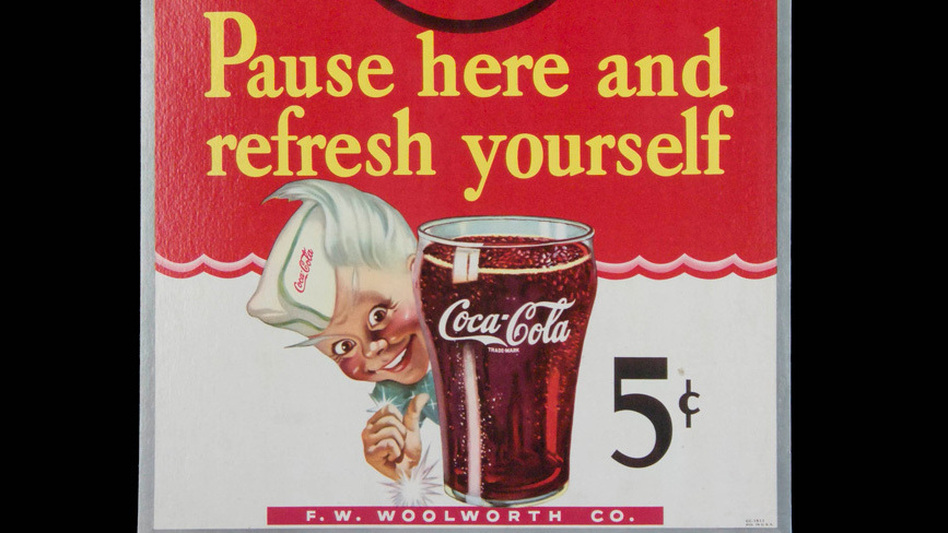 1945: A cardboard easel sign for Woolworth. (The Coca-Cola Company)