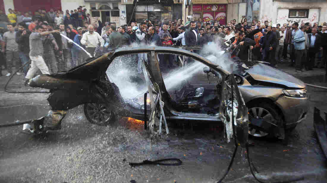 A car hit by one of today's airstrikes in Gaza City.